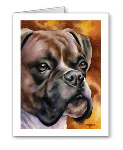 Boxer Watercolor Note Card Art by Artist DJ Rogers