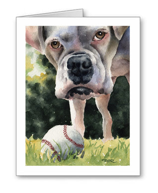 White Boxer Watercolor Note Card Art by Artist DJ Rogers