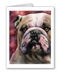 Bulldog Watercolor Note Card Art by Artist DJ Rogers