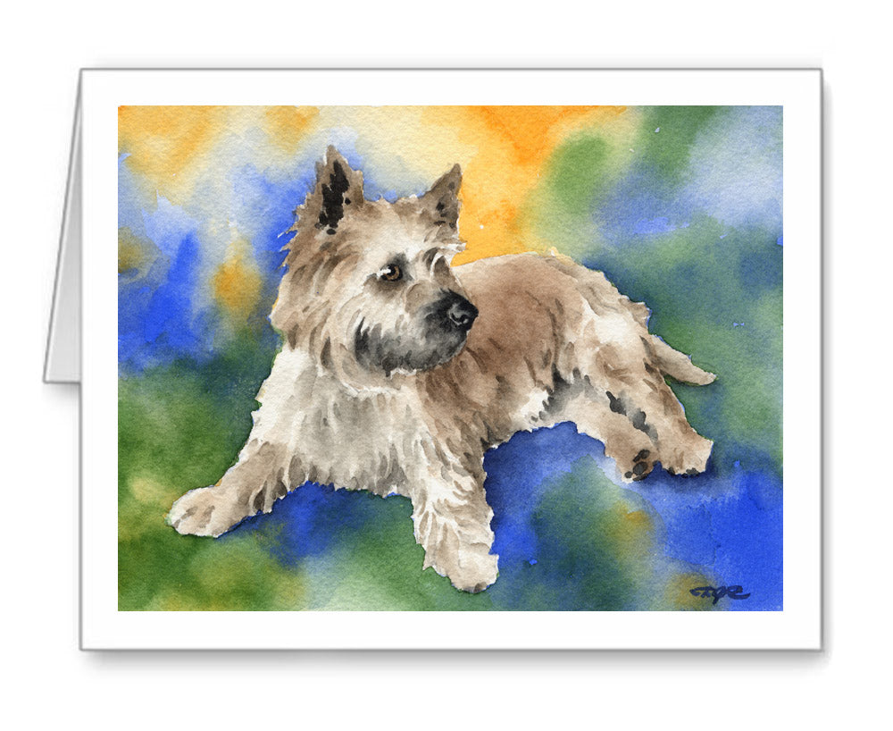 Cairn Terrier Watercolor Note Card Art by Artist DJ Rogers