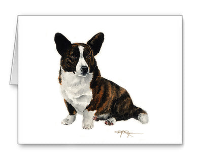 Cardigan Welsh Corgi Watercolor Note Card Art by Artist DJ Rogers