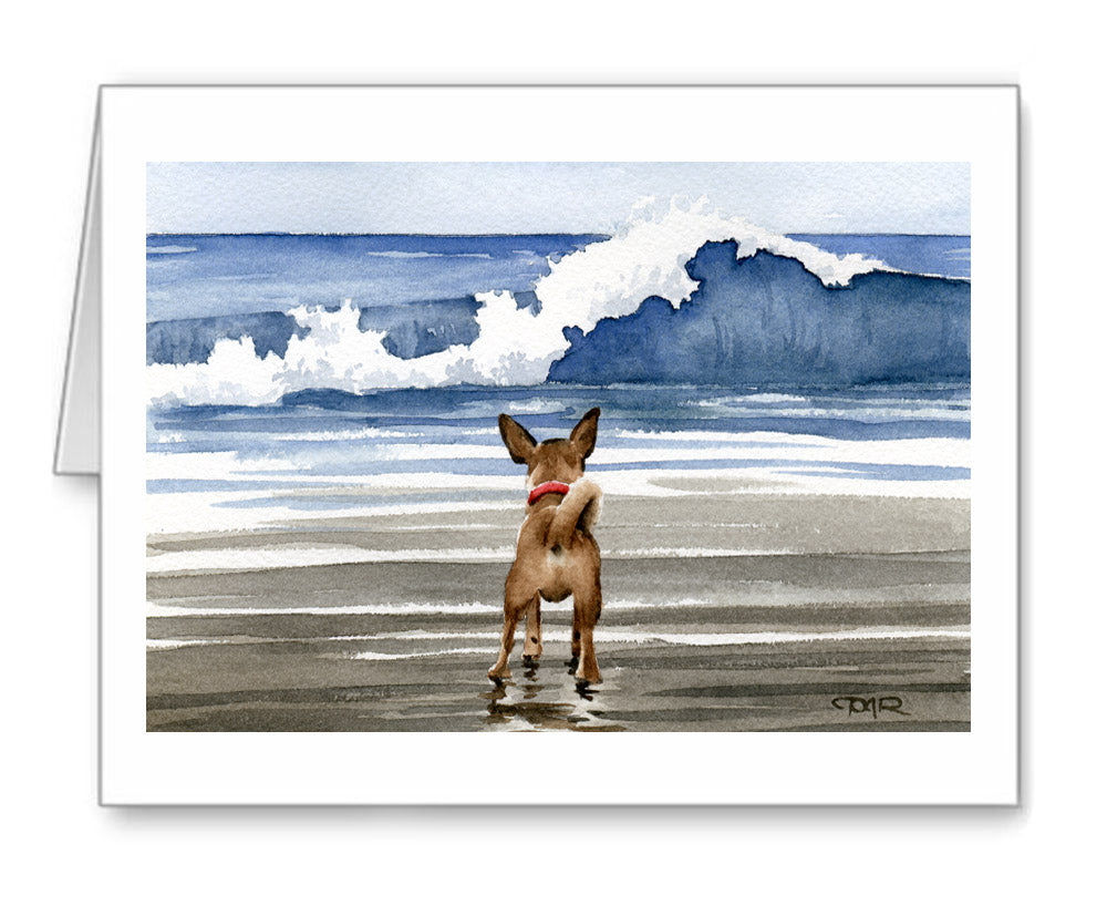 Chihuahua Watercolor Note Card Art by Artist DJ Rogers