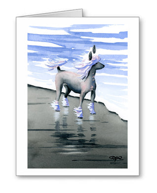 Chinese Crested Watercolor Note Card Art by Artist DJ Rogers