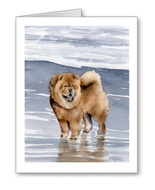 Chow Watercolor Note Card Art by Artist DJ Rogers