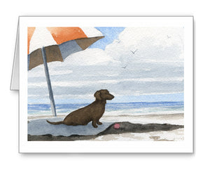 Dachshund Watercolor Note Card Art by Artist DJ Rogers