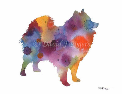 A American Eskimo 0 print based on a David J Rogers original watercolor