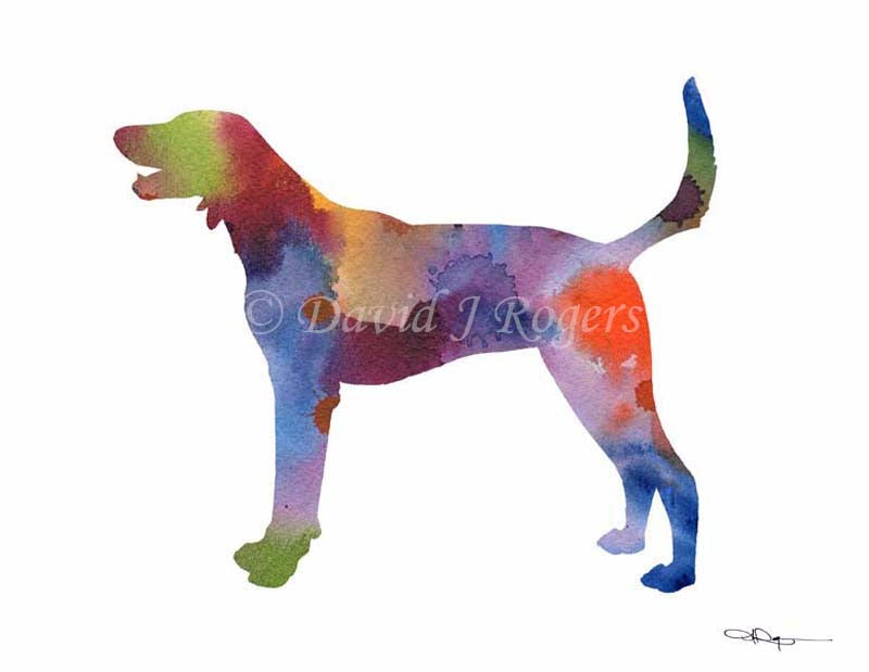 A American Foxhound 0 print based on a David J Rogers original watercolor
