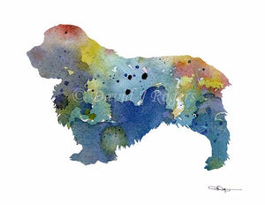 Blue Borzoi Abstract Watercolor Painting Art Print by Artist DJ Rogers