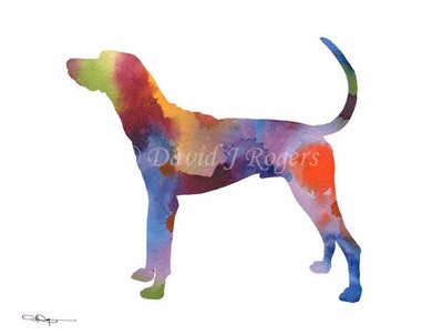 A Plott Hound 0 print based on a David J Rogers original watercolor