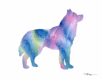 A Siberian Husky 0 print based on a David J Rogers original watercolor