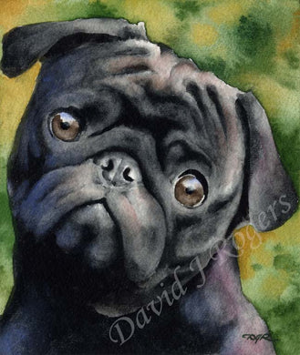 Black Pug Dog Wall Art Print Poster Picture Painting Living Room Decor