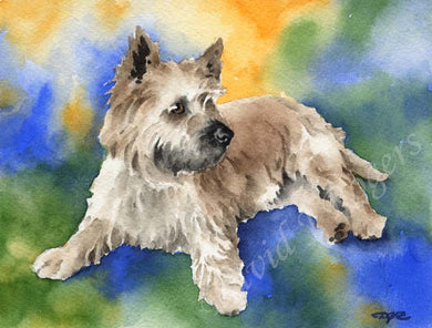 A Cairn Terrier portrait print based on a David J Rogers original watercolor