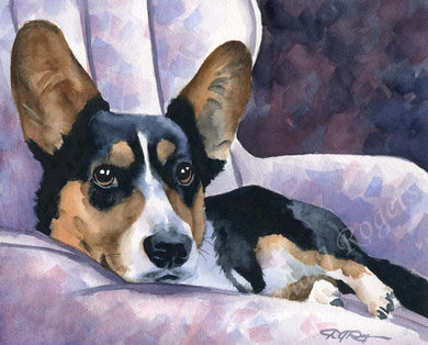 A Cardigan Welsh Corgi portrait print based on a David J Rogers original watercolor