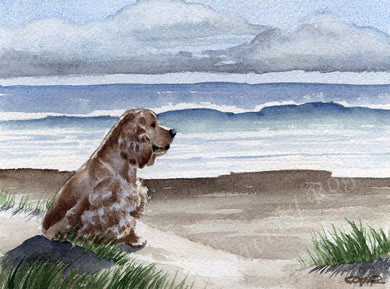 A Cocker Spaniel beach print based on a David J Rogers original watercolor