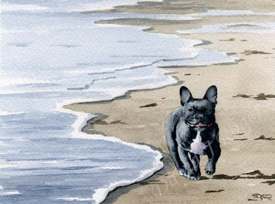 A French Bulldog beach print based on a David J Rogers original watercolor