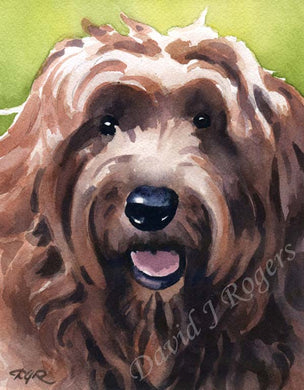 A Golden Doodle portrait print based on a David J Rogers original watercolor