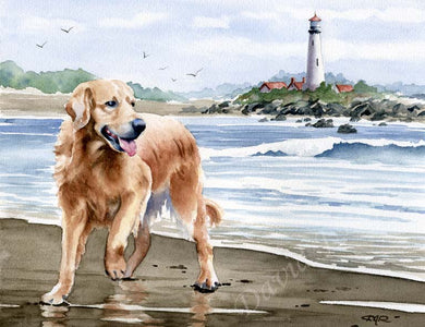 A Golden Retriever beach print based on a David J Rogers original watercolor