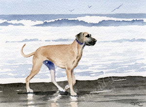 A Great Dane beach print based on a David J Rogers original watercolor