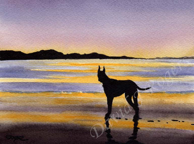 A Great Dane sunset print based on a David J Rogers original watercolor