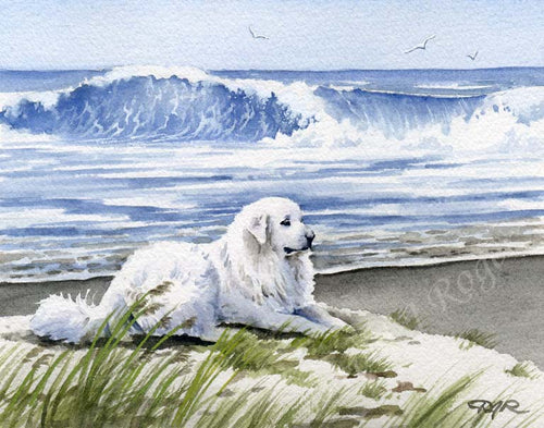 A Great Pyrenees beach print based on a David J Rogers original watercolor