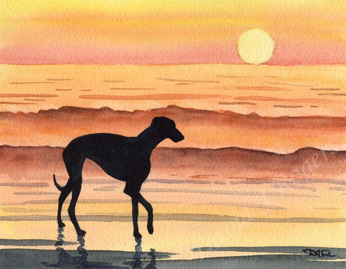 A Greyhound sunset print based on a David J Rogers original watercolor