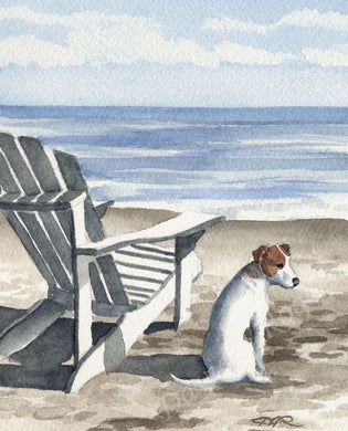 A Jack Russell Terrier beach print based on a David J Rogers original watercolor