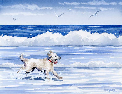 A Labradoodle beach print based on a David J Rogers original watercolor