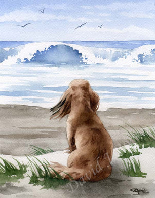A Long Haired Dachshund beach print based on a David J Rogers original watercolor