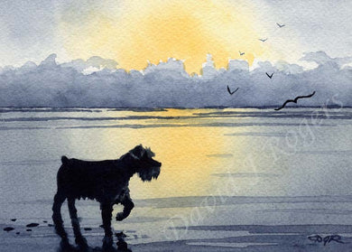 A Miniature Schnauzer sunset print based on a David J Rogers original watercolor