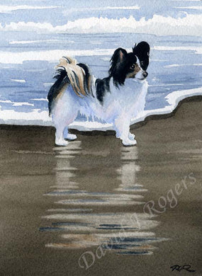 A Papillon beach print based on a David J Rogers original watercolor