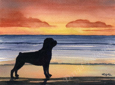 A Rottweiler sunset print based on a David J Rogers original watercolor