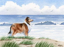 Load image into Gallery viewer, A Rough Collie beach print based on a David J Rogers original watercolor