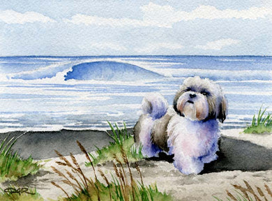 A Shih Tzu beach print based on a David J Rogers original watercolor