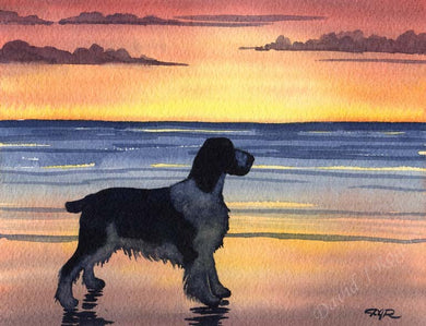 A Springer Spaniel sunset print based on a David J Rogers original watercolor