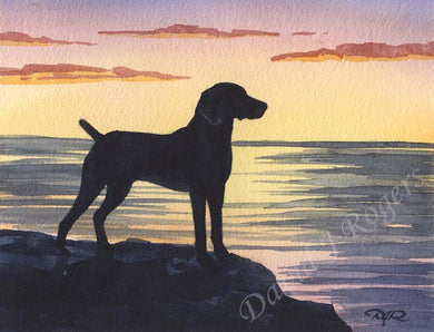A Weimaraner sunset print based on a David J Rogers original watercolor