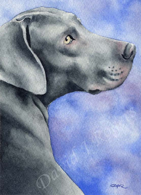 A Weimaraner portrait print based on a David J Rogers original watercolor