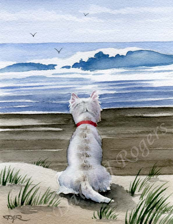 A West Highland Terrier beach print based on a David J Rogers original watercolor
