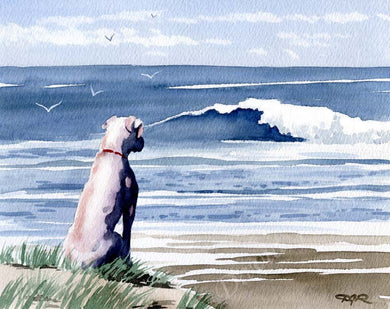 A White Boxer beach print based on a David J Rogers original watercolor