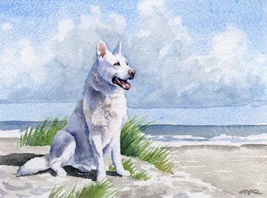 A White German Shepherd beach print based on a David J Rogers original watercolor