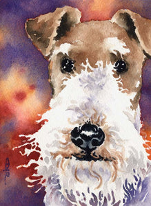 A Wire Fox Terrier portrait print based on a David J Rogers original watercolor
