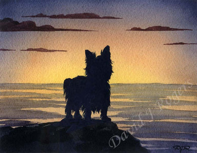 A Yorkshire Terrier sunset print based on a David J Rogers original watercolor