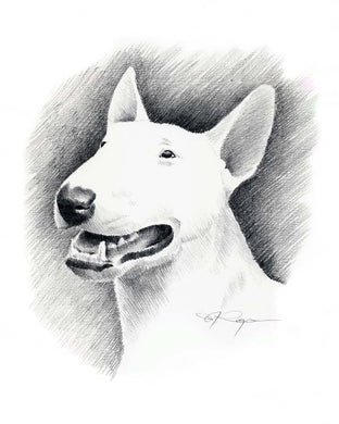 Bull Terrier Dog Wall Art Print Poster Picture Painting Room Decor