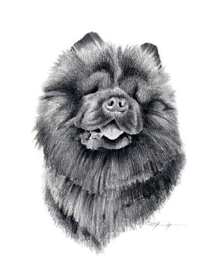 A Chow portrait print based on a David J Rogers original watercolor