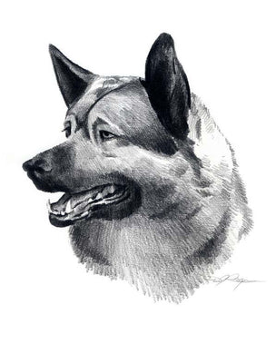 A Elkhound 0 print based on a David J Rogers original watercolor