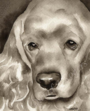 A Cocker Spaniel portrait print based on a David J Rogers original watercolor