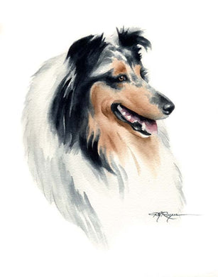 Blue Collie Dog Wall Art Print Poster Picture Painting Room Decor