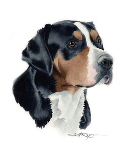 A Great Swiss Mountain Dog portrait print based on a David J Rogers original watercolor