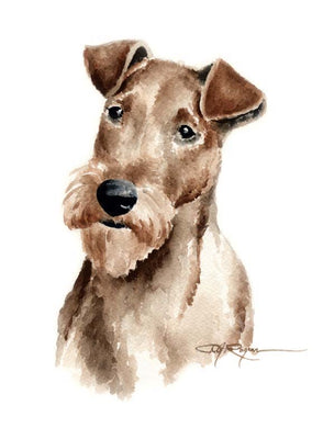 A Irish Terrier portrait print based on a David J Rogers original watercolor