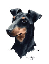 Load image into Gallery viewer, A Manchester Terrier portrait print based on a David J Rogers original watercolor