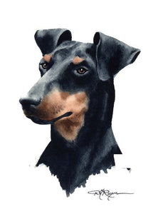 A Manchester Terrier portrait print based on a David J Rogers original watercolor
